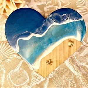 Other - 3D Resin Beach Heart Gold Sand Wall Decoration